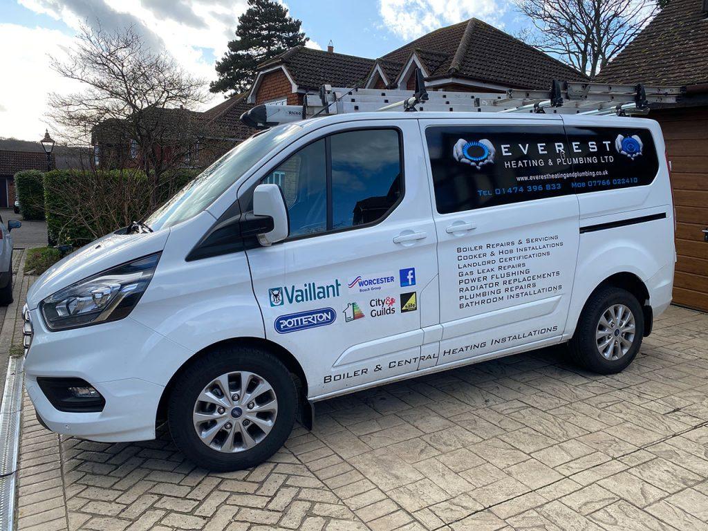 everest heating and plumbing van
